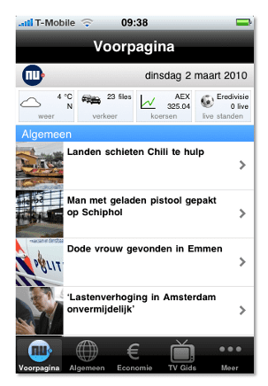 De app-versie van nu.nl.