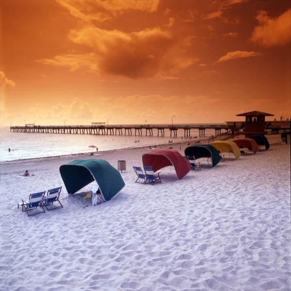 Cabanas near the Riviera Beach Pier. Photographer Milo H. Stewart III