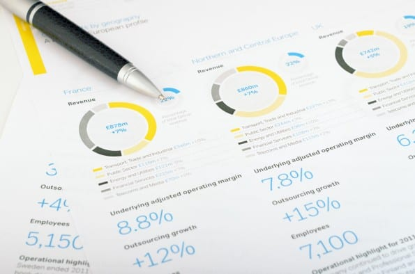 Pen and calculator over annual report