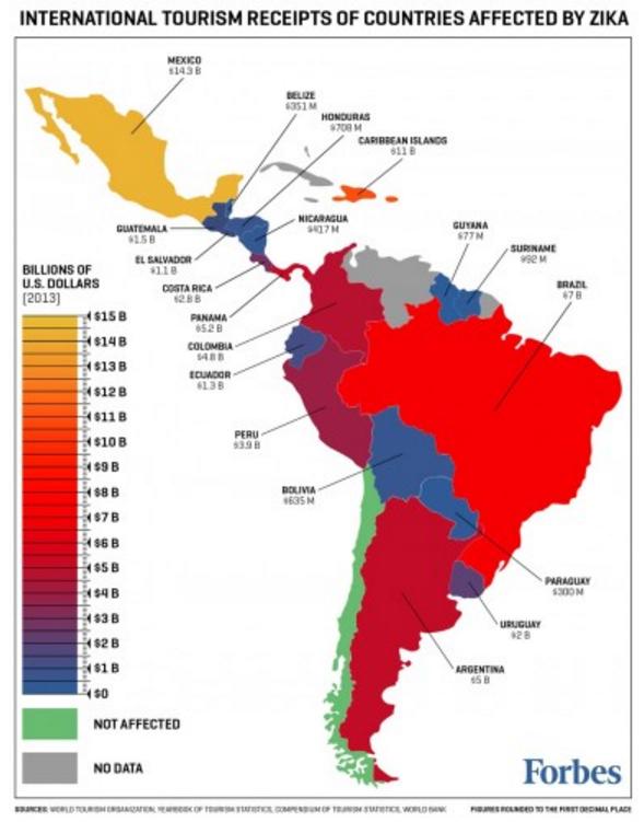 De kaart van Forbes, verwarrend door het vreemde kleurgebruik.