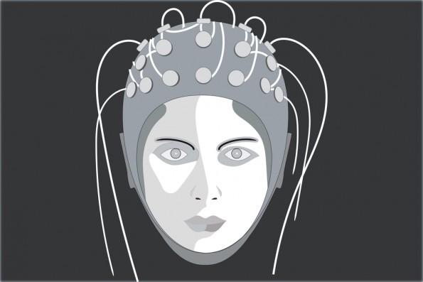 vrouw met meetapparatuur op hoofd