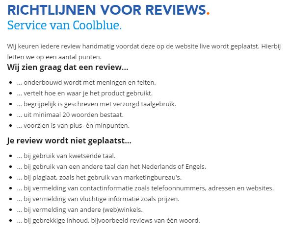 Coolblue review richtlijnen