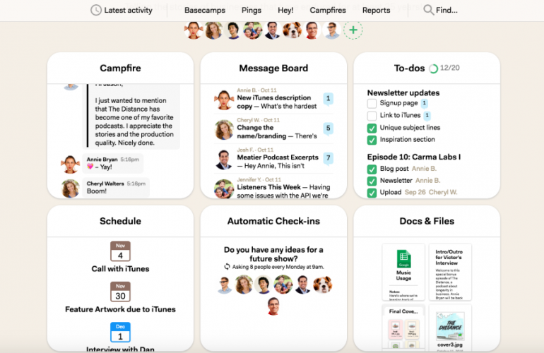 Screenshot of Basecamp: one of the tools for online collaboration.