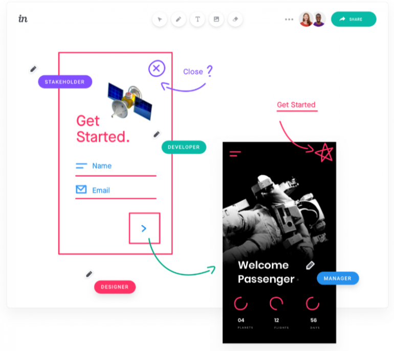 Screenshot of Invision Freehand: one of the tools for online collaboration.