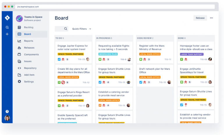 Screenshot of Jira: one of the tools for online collaboration.