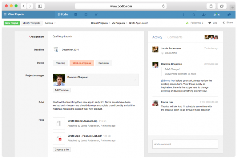 Screenshot from Podio: one of the tools for online collaboration.
