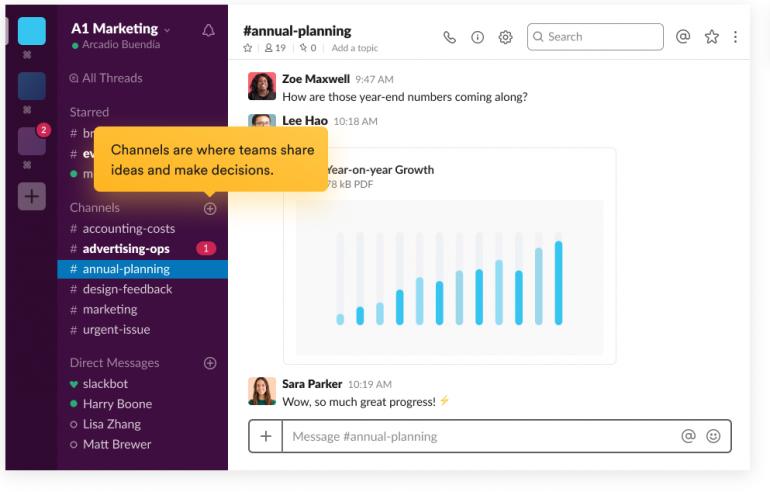 Screenshot of Slack: one of the tools for online collaboration.