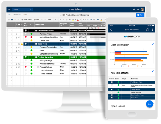Screenshot of Smartsheet: one of the tools for online collaboration.