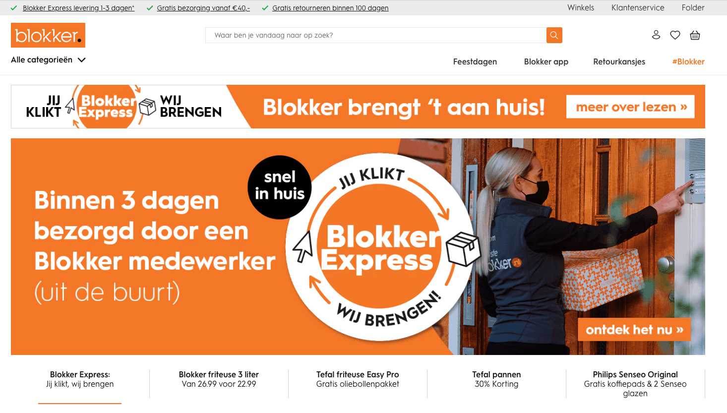 Screenshot van de website van Blokker.