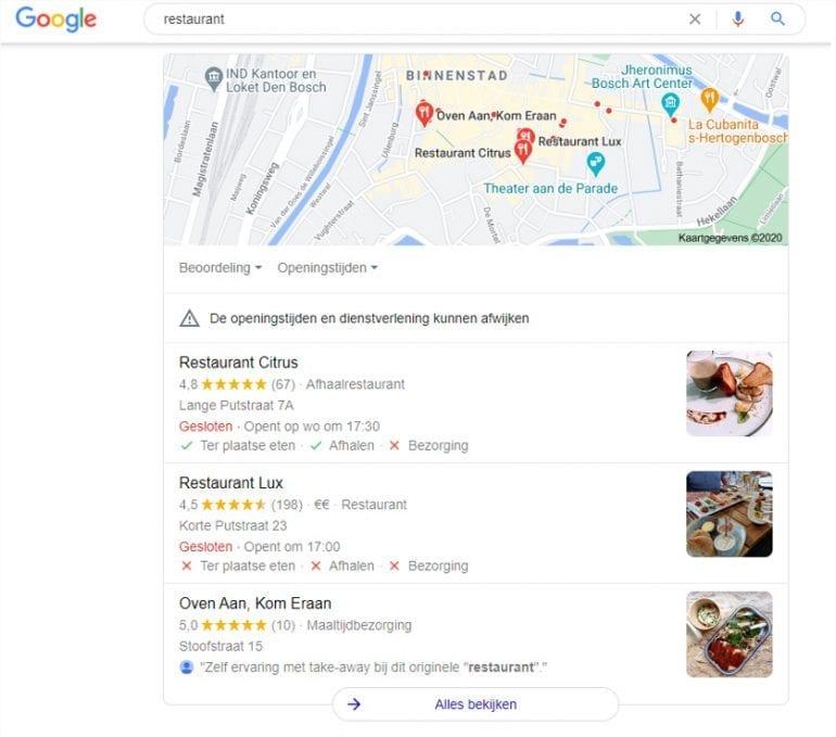 Google search naar restaurants in de buurt.