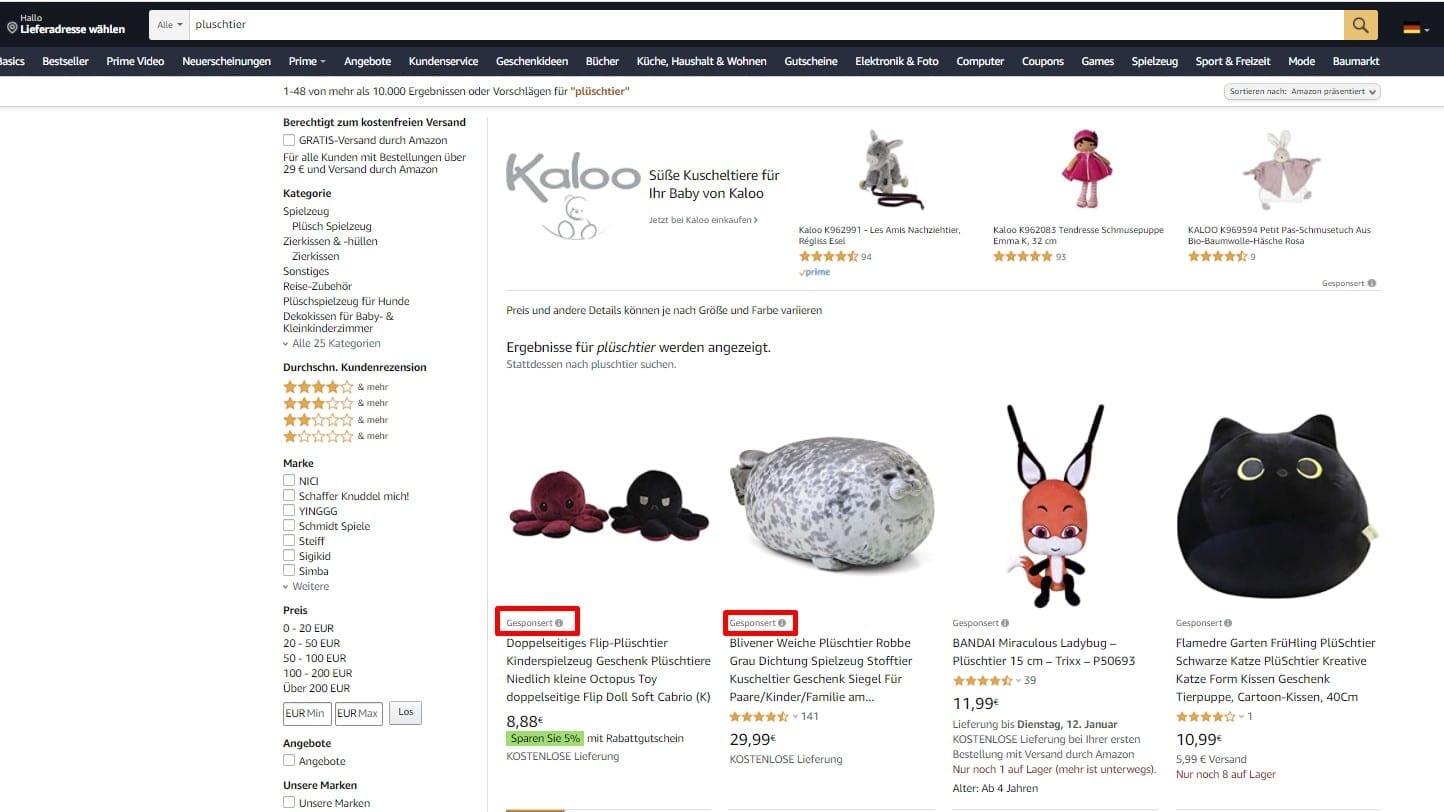 Voorbeeld van Amazon Sponsored Product Ads.